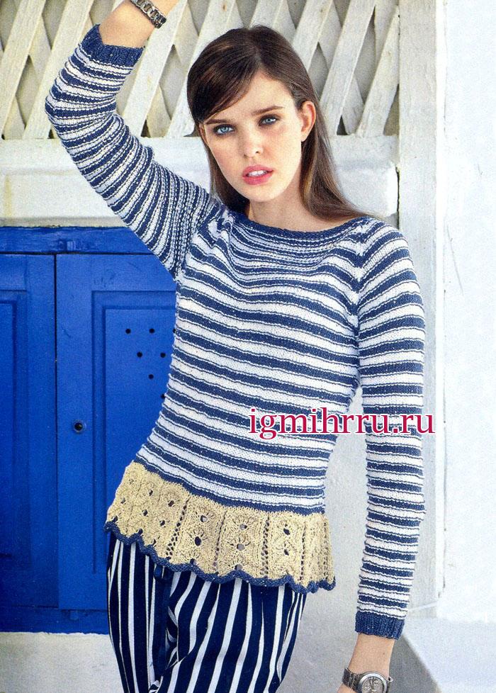 Полосатый пуловер с ажурной баской. Вязание спицами