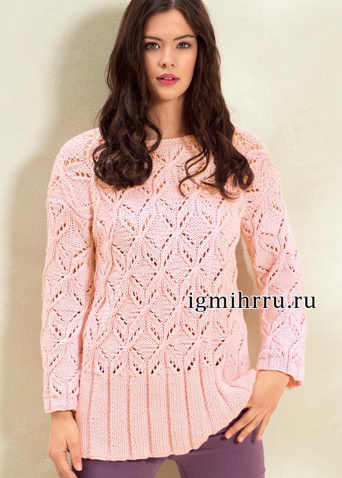 Розовый пуловер с красивыми ажурными структурами и высокой нижней планкой. Вязание спицами