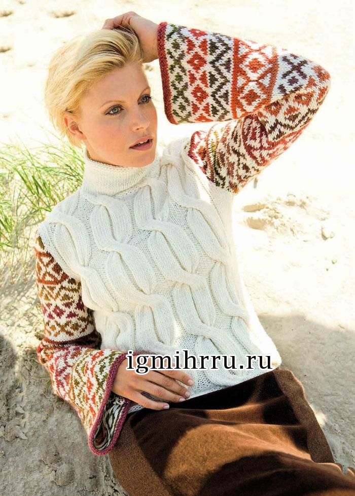 Пуловер с крупными косами и расклешенными жаккардовыми рукавами. Вязание спицами