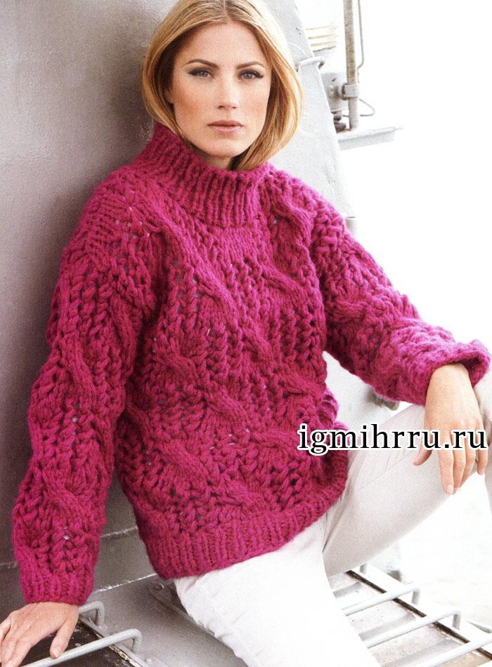 Теплый пуловер цвета цикламена, с ажурным узором с косами. Вязание спицами