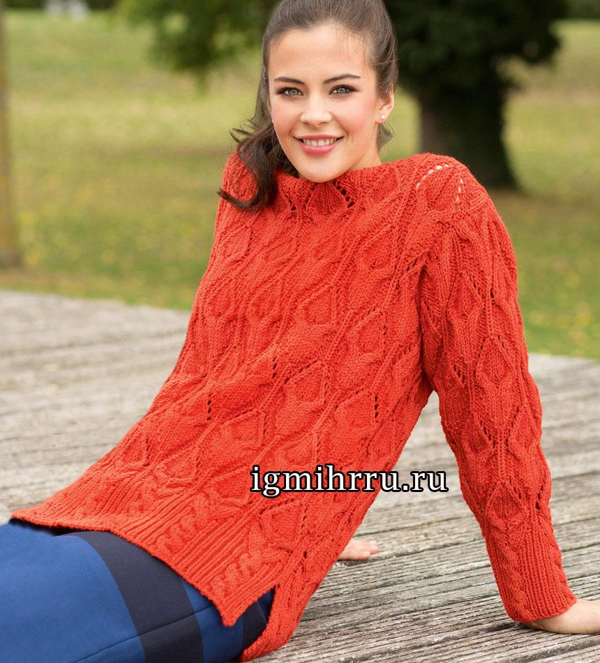 Ярко-красный пуловер с выразительными ажурными косами и высокими планками. Вязание спицами