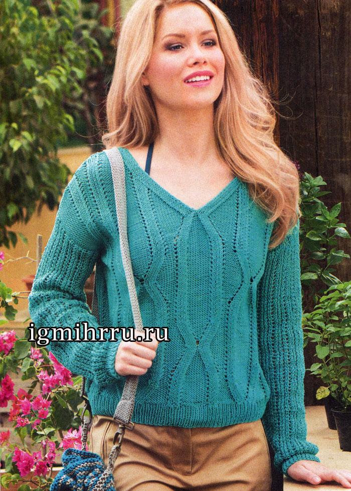 Пуловер насыщенного изумрудного цвета с рельефным вертикальным узором. Вязание спицами