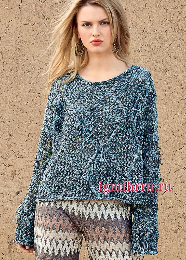 Свободный пуловер из меланжевой пряжи, с ажурными ромбами. Вязание спицами