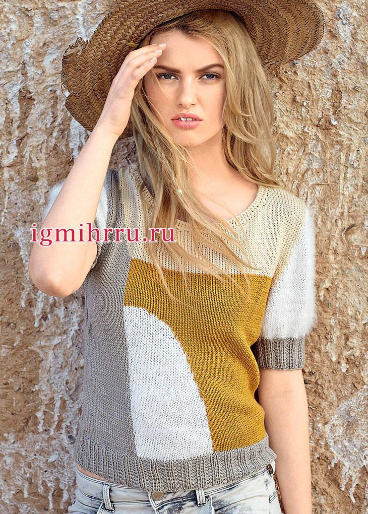 Пуловер с цветными геометрическими узорами, выполненный из гладкой и пушистой пряжи. Вязание спицами
