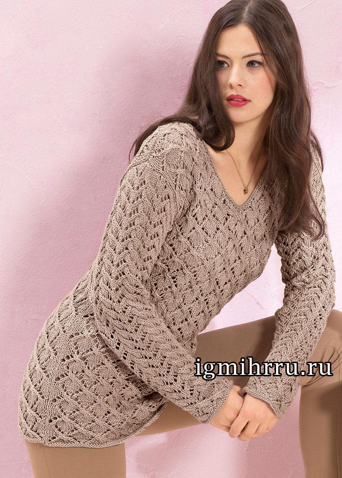 Удлиненный ажурный пуловер цвета розового дерева. Вязание спицами