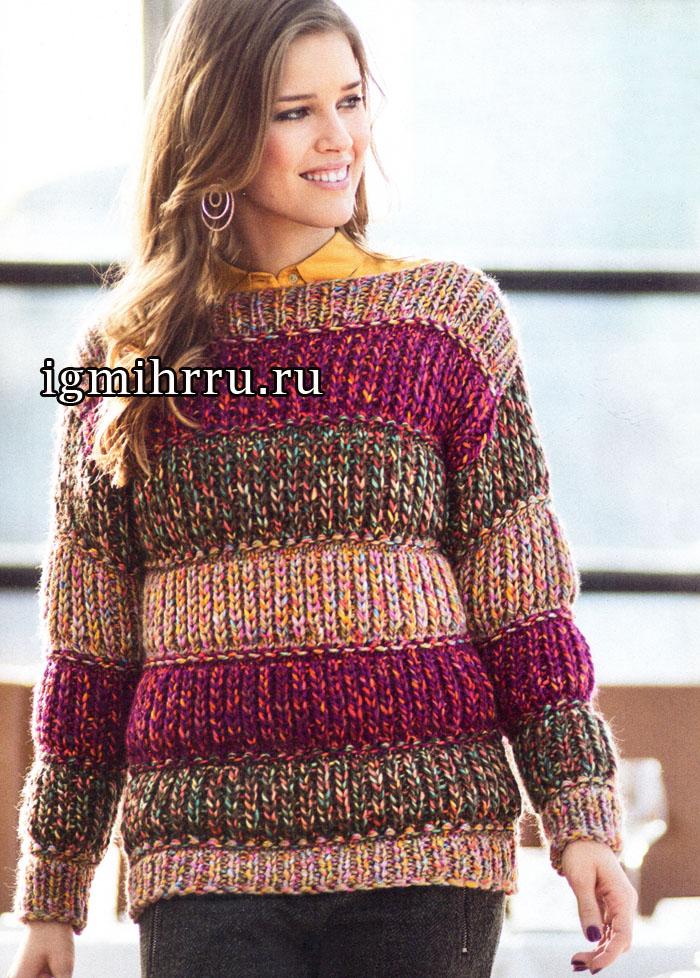 Street style. Разноцветный меланжевый пуловер в полоску. Вязание спицами