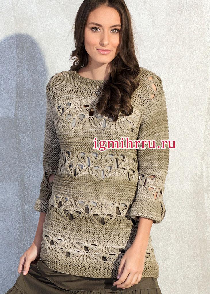Удлиненный пуловер с оригинальным ажурным узором. Вязание спицами
