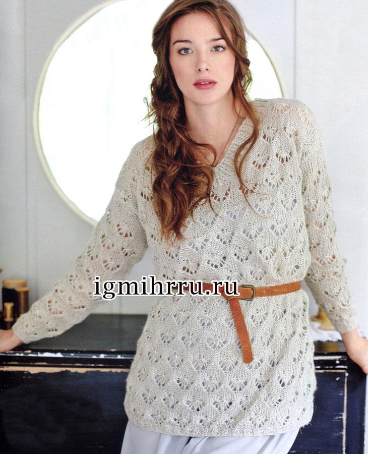 Светло-серый ажурный пуловер из льняной пряжи. Вязание спицами