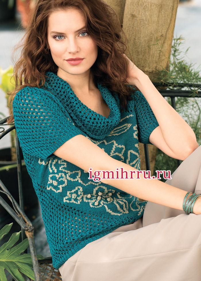 Иссиня-зеленый ажурный пуловер с цветочными мотивами. Вязание спицами
