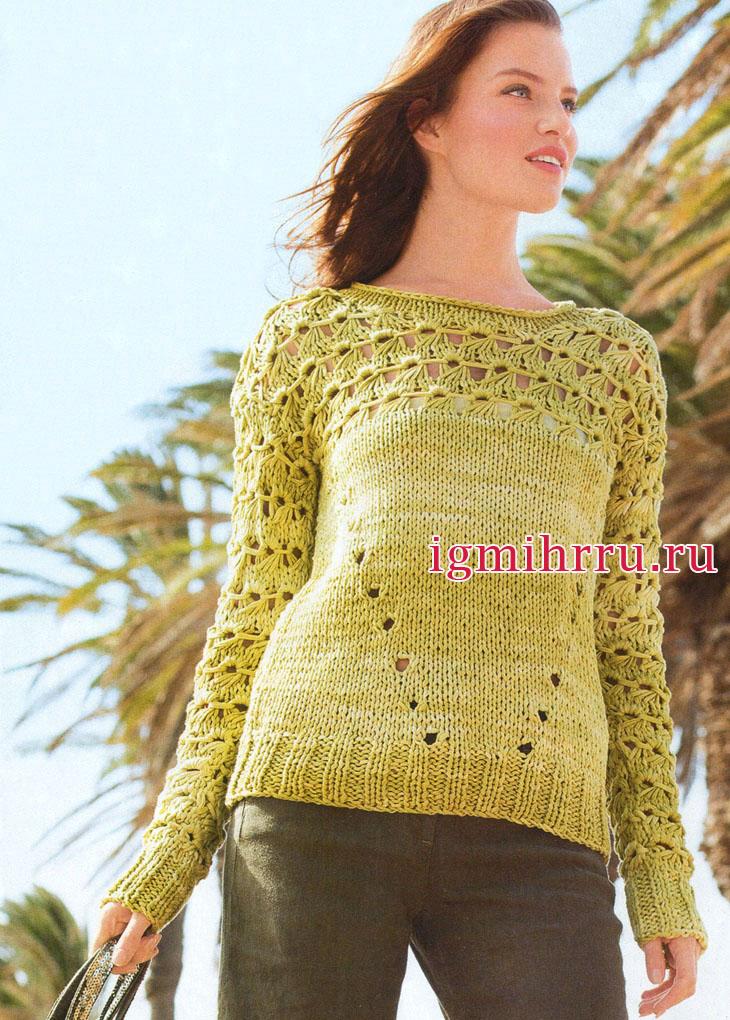 Светло-зеленый пуловер из хлопковой пряжи с эффектным узором с протяжками. Вязание спицами
