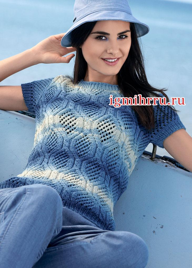 В стиле деним! Пуловер с короткими рукавами и ажурными косами. Вязание спицами