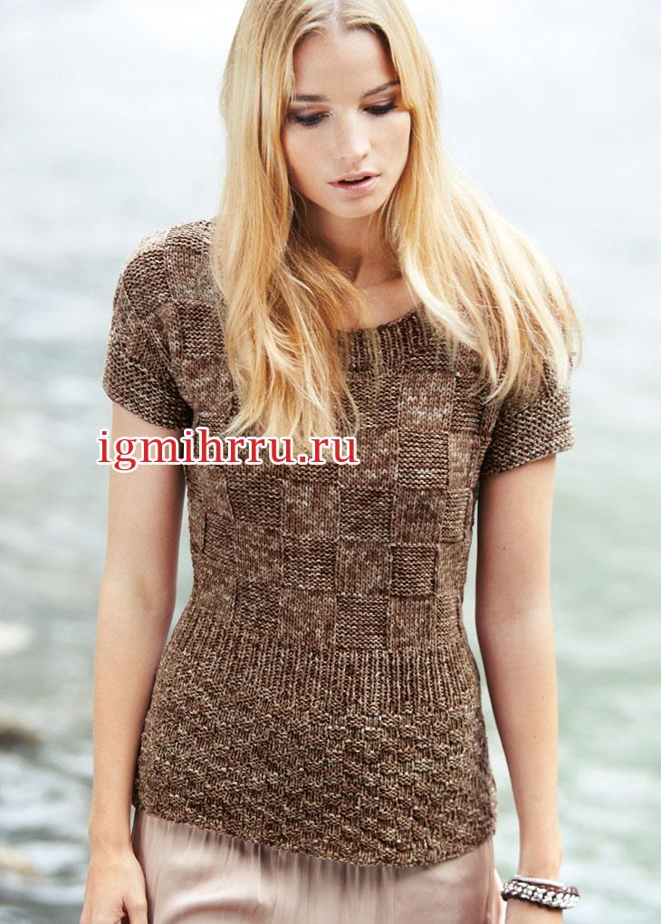 Коричневый меланжевый пуловер с клетками. Вязание спицами