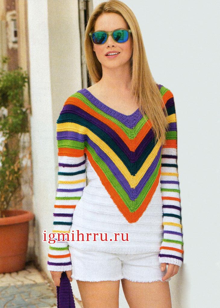 Пуловер с кокеткой в полоску и рукавами в рубчик. Вязание спицами