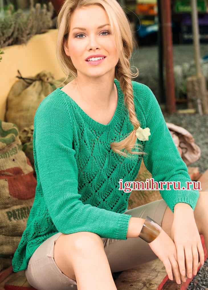 Зеленый пуловер-реглан с ажурным узором. Вязание спицами