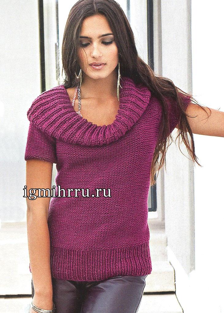 Бордовый пуловер с широким воротником. Вязание спицами