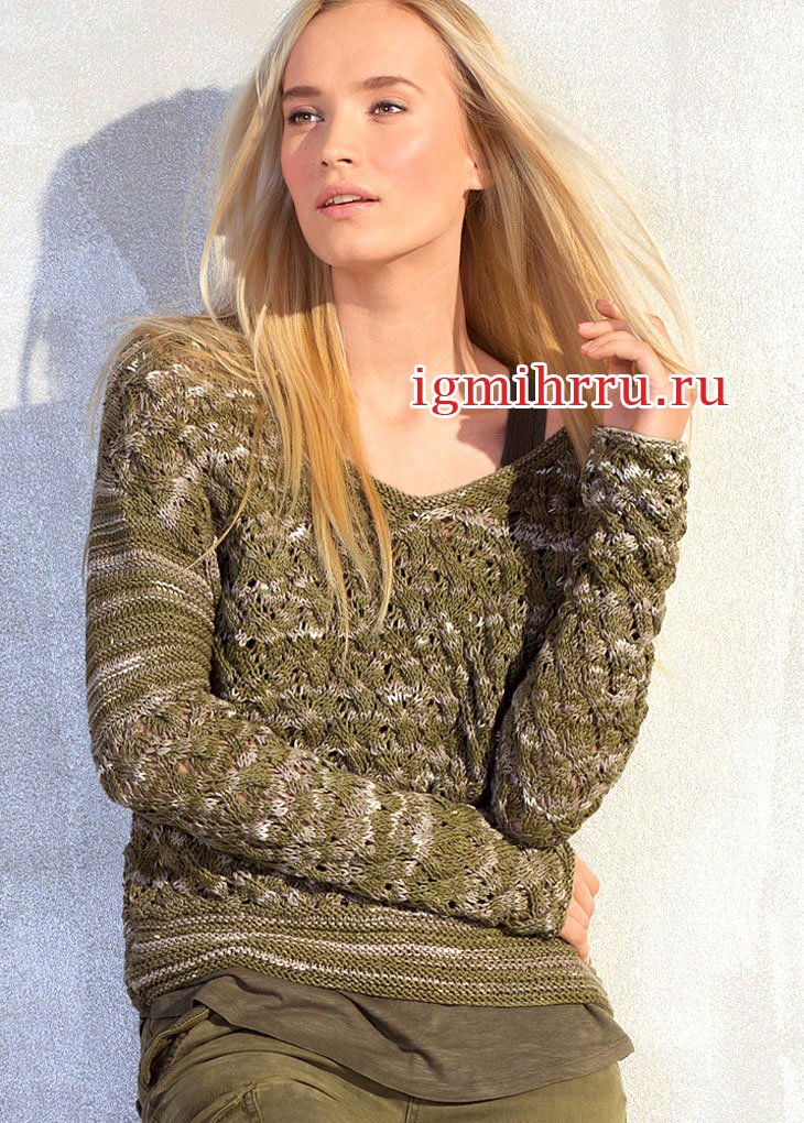 Меланжевый пуловер с ажурным узором из кос. Вязание спицами