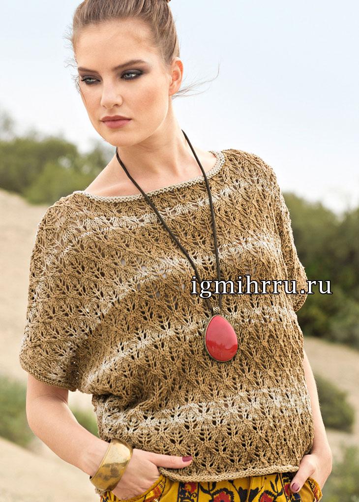 ажурный летний пуловер покроя летучая мышь вязание спицами