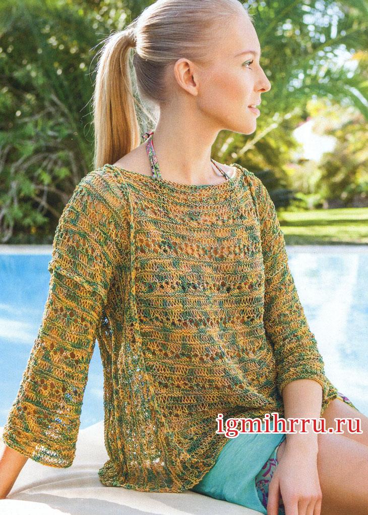 Ажурный пуловер со спущенными петлями. Вязание спицами