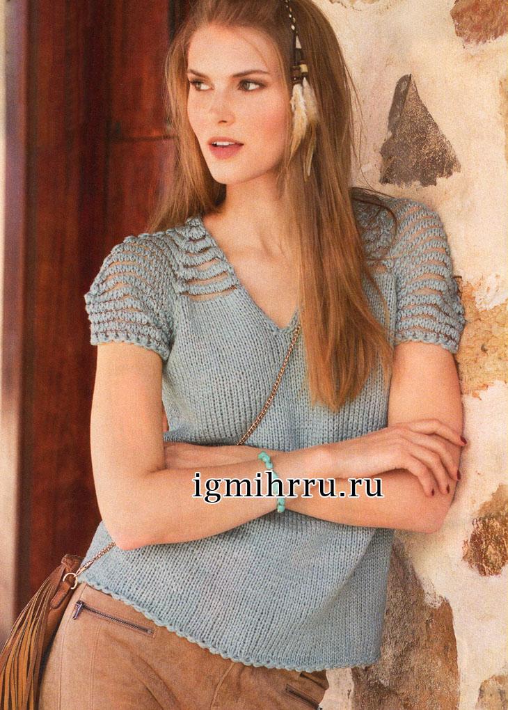 Пуловер с короткими рукавами и кокеткой из прозрачных полосок. Вязание спицами