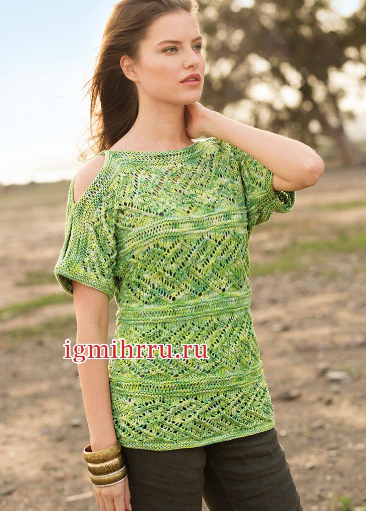 Зеленый меланжевый пуловер с ажурными полосами. Вязание спицами
