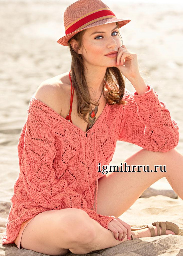 Свободный розовый пуловер со структурным узором. Вязание спицами