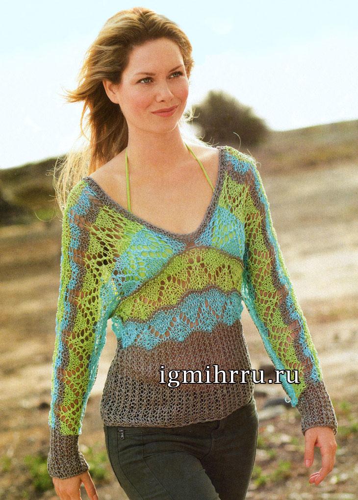 Легкий трехцветный пуловер с цельновязаными рукавами. Вязание спицами