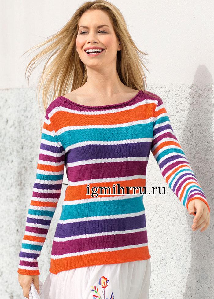 Яркий пуловер в разноцветную полоску. Вязание спицами