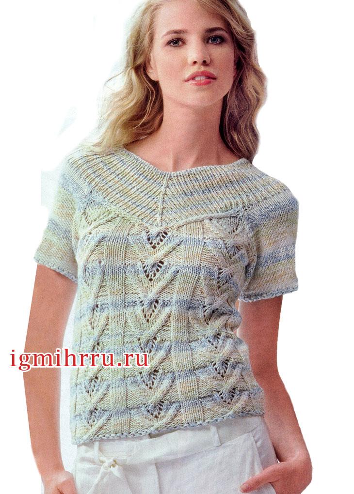 Женственный меланжевый пуловер с ажурным узором. Вязание спицами