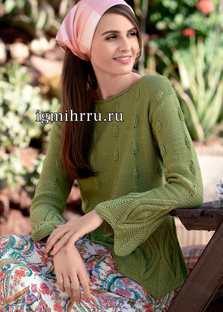 Пуловер из хлопковой пряжи оливково-зеленого цвета, с узорами листочки. Вязание спицами