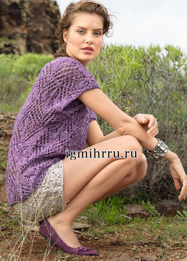 Ажурный летний пуловер с короткими рукавами. Вязание спицами
