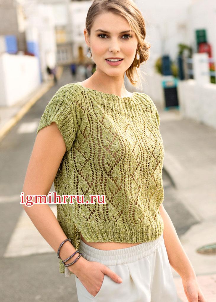 Ажурный зеленый пуловер с удлиненной спинкой. Вязание спицами