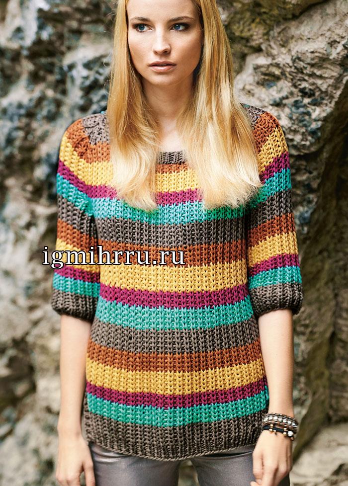 Полосатый пуловер с круглыми боковыми разрезами. Вязание спицами