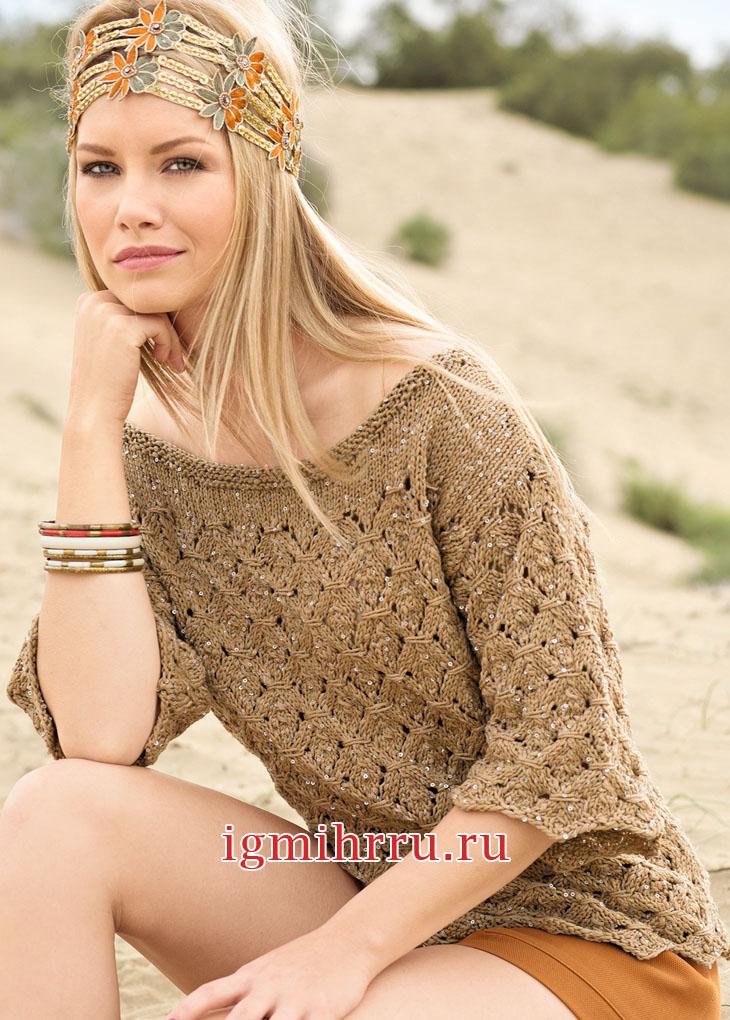 Мерцающий пуловер с узором из ромбов. Вязание спицами
