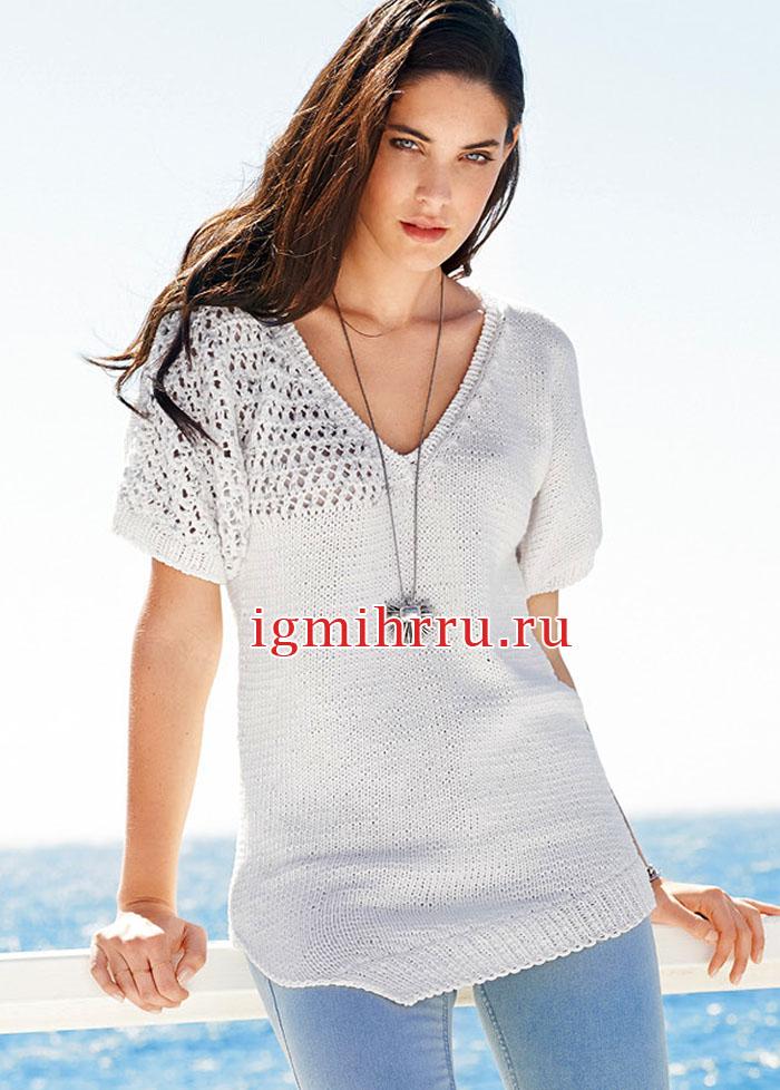 Белый асимметричный пуловер с короткими рукавами. Вязание спицами