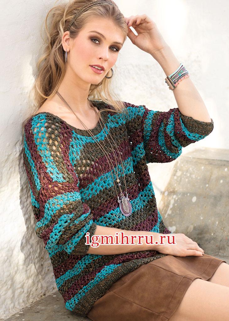 Свободный полосатый пуловер с сетчатым узором. Вязание спицами