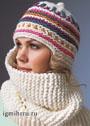 Белая шапка-шарф с цветными полосами. Спицы