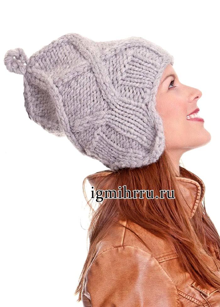 Теплая серая шапка из толстой пряжи, с рельефными переплетениями. Вязание спицами