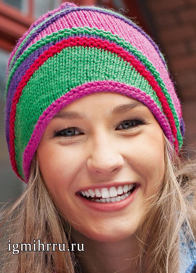 Разноцветная шапочка с эффектом волн. Вязание спицами