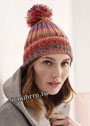 Разноцветная меланжевая шапочка с помпоном. Спицы