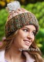 Разноцветная шапочка с помпоном. Спицы