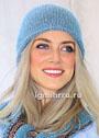 Теплая серебристо-голубая шапочка, связанная лицевой гладью. Спицы