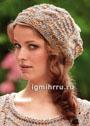 Летняя шапочка с косами, связанная вкруговую. Спицы