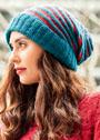 Объемная двухцветная шапка в полоску. Спицы