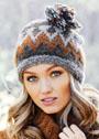 Теплая жаккардовая шапочка с разноцветной кисточкой. Спицы