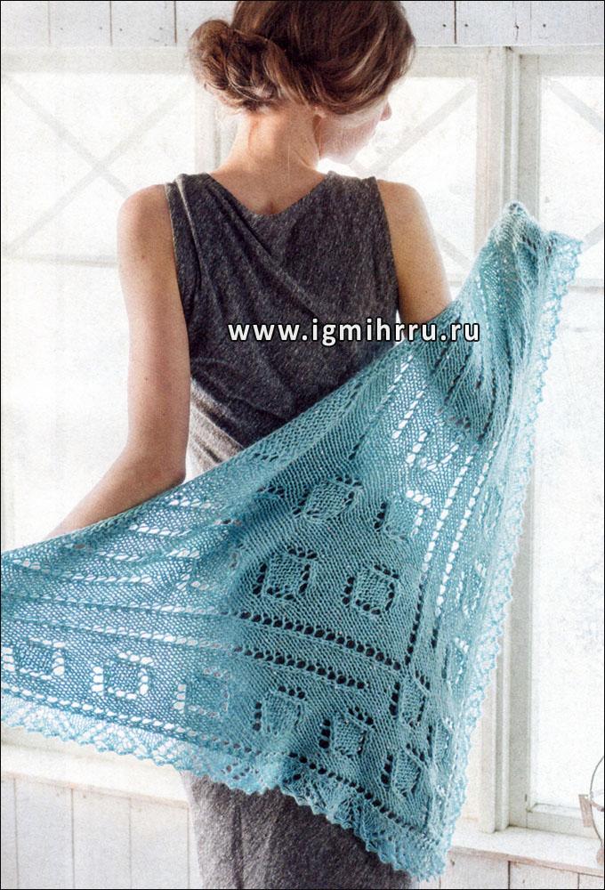 Нежная бирюзовая шаль, от финских дизайнеров. Спицы