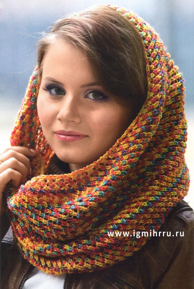 Разноцветный шерстяной шарф-хомут. Спицы