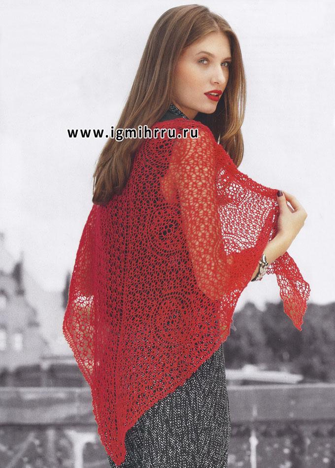 Красная ажурная шаль, от Verena. Спицы