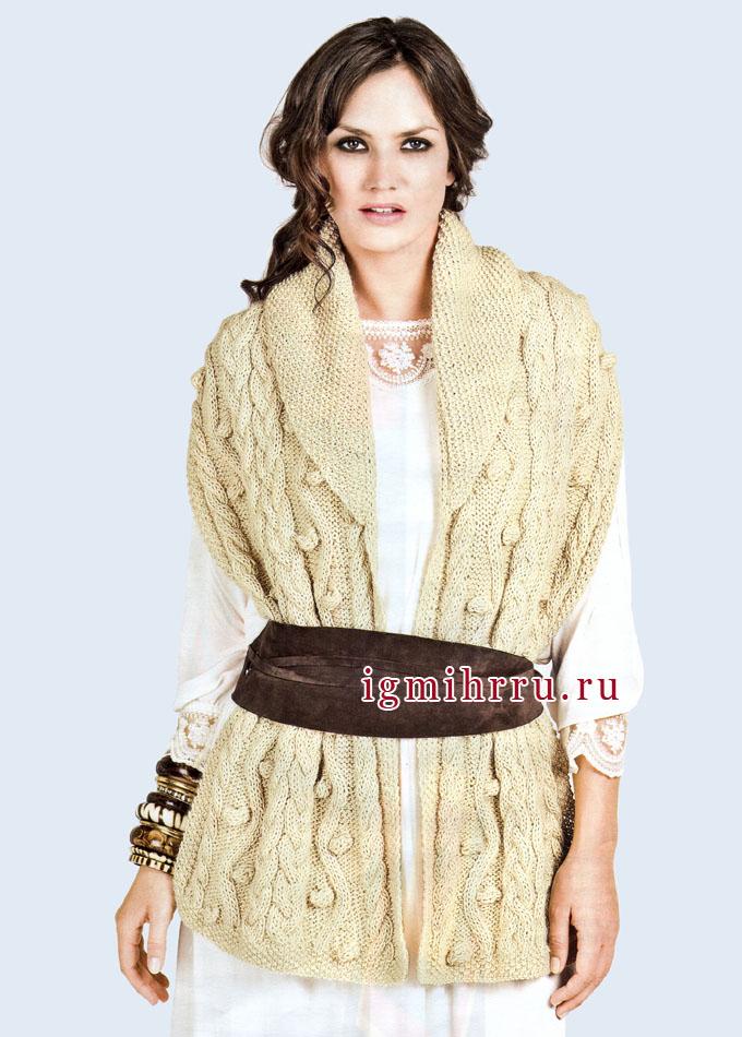 Теплый шарф кремового цвета с воротником-шалькой, от французских дизайнеров. Спицы