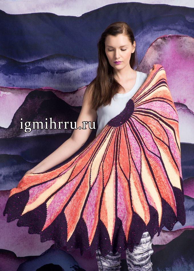 Роскошная шаль «Жар-птица», связанная в поперечном направлении, от финских дизайнеров. Вязание спицами