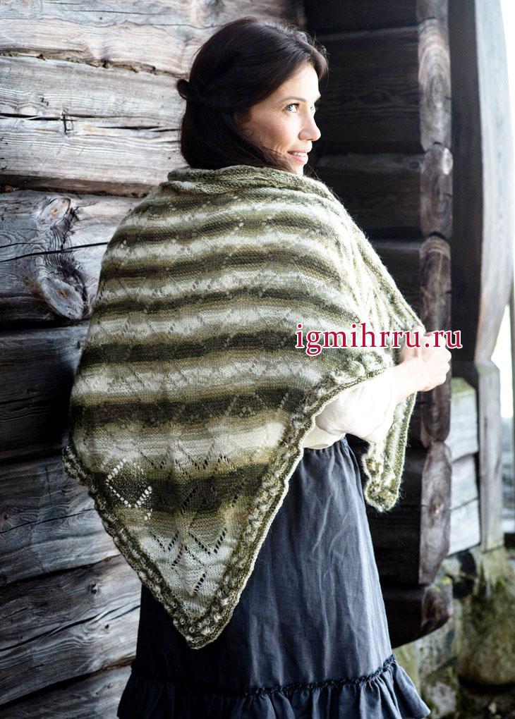 Меланжевая шаль с ажурным узором, связанная сверху вниз, от финских дизайнеров. Вязание спицами